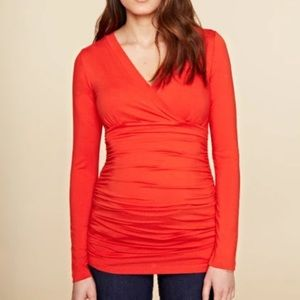 Isabella Oliver The Ruched Wrap Top 2 NWT Orange